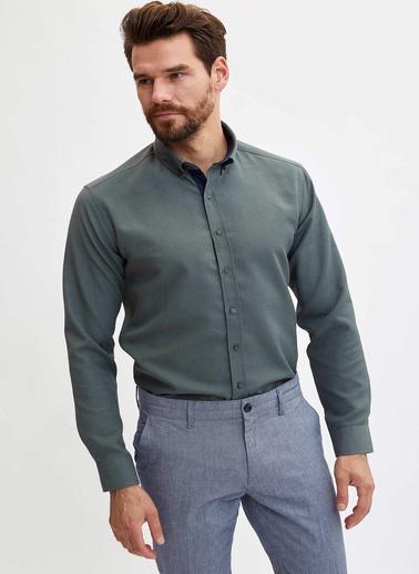DeFacto Slim Fit Gömlek Yeşil